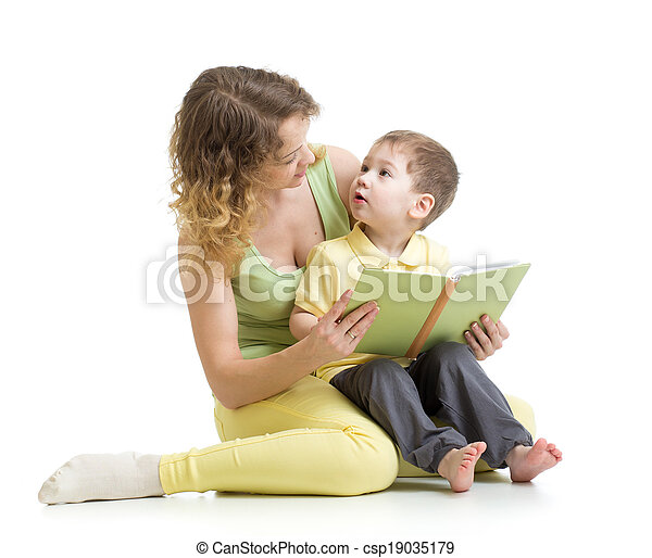 mother reading a book to her kid boy - csp19035179