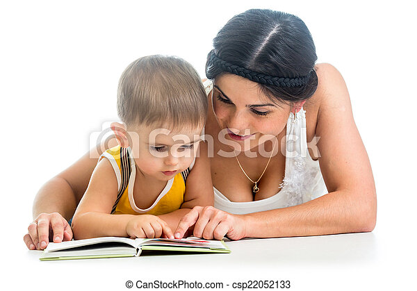 mother reading a book to her kid boy - csp22052133