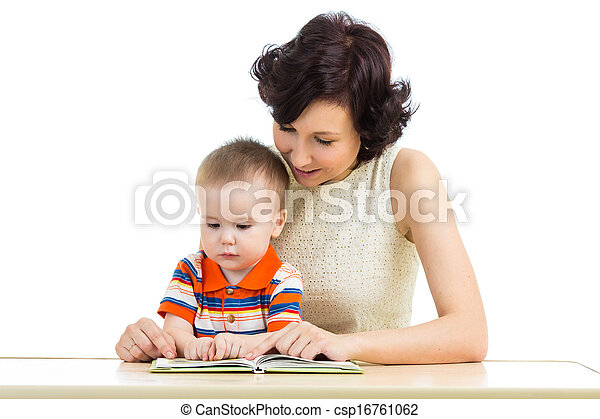 mother reading a book to her kid - csp16761062