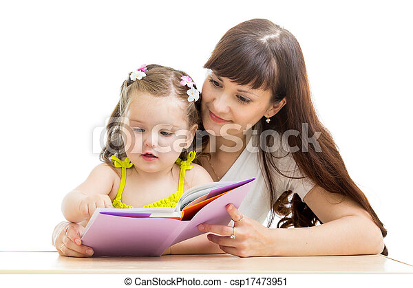 mother reading a book to her kid - csp17473951
