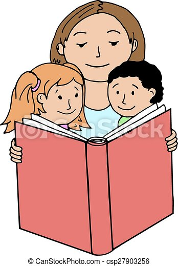 mother reading book to her children vector illustrations