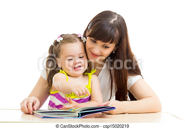 mother reading to child a book - csp15020219