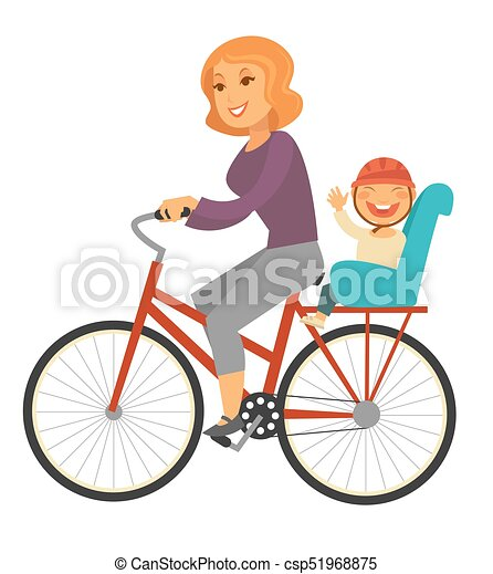 Mother rides bicycle with baby boy on special seat - csp51968875