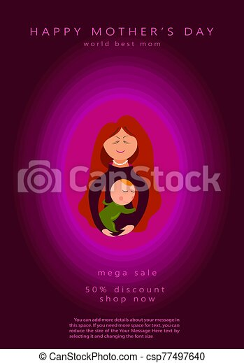 Mother silhouette with her baby. Card of Happy Mothers Day. Vector illustration with beautiful woman and child. Pink design element for holiday banner, poster. Paper cut style, vector illustration sale - csp77497640