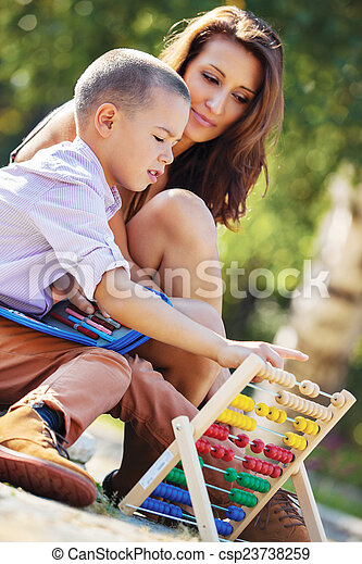 mother son abacus - csp23738259