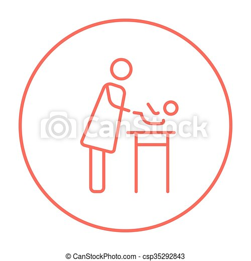 Mother Taking Care Of Baby Line Icon Mother Taking Care Of The Baby