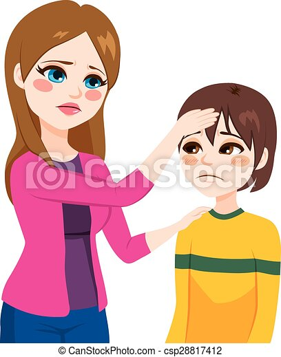 mother touching son head young mother worried mother checking rh canstockphoto com mom pic clipart Mother Clip Art