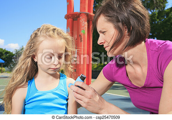 mother using inhaler with her asthmatic daughter - csp25470509