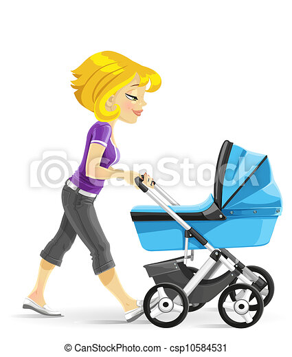 Mother walking with a blue stroller - csp10584531