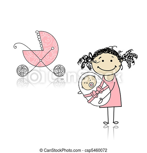 Mother walking with buggy, newborn baby - csp5460072