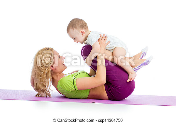 mother with baby doing gymnastics and fitness exercises - csp14361750