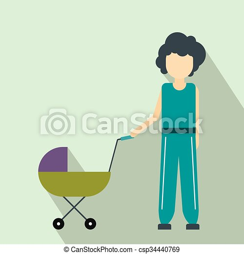 Mother with baby in stroller flat icon - csp34440769