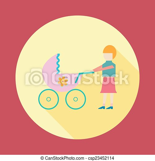 Mother with baby in stroller - csp23452114