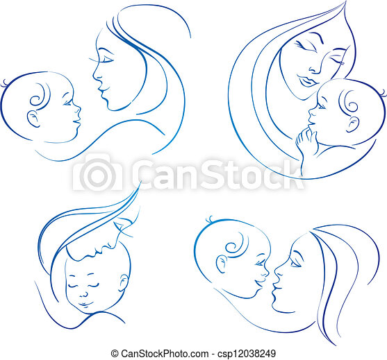 Mother with baby. Set of linear silhouette illustrations  - csp12038249