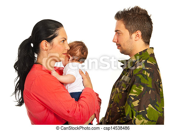 Mother with baby talk with military dad - csp14538486