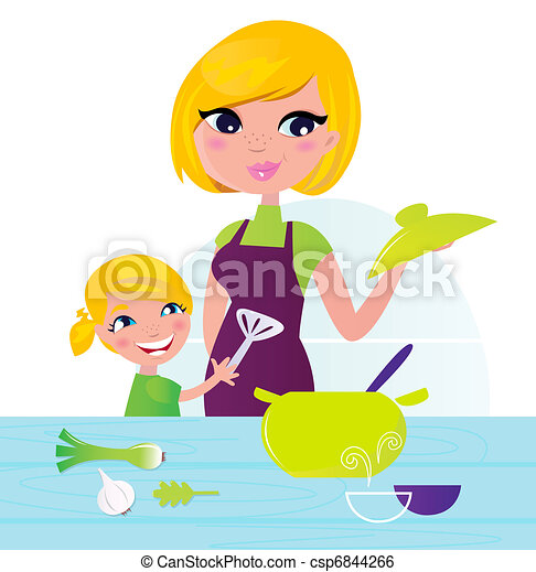 Mother with child cooking healthy food in kitchen - csp6844266