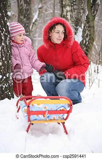 mother with child in park at winter 3 - csp2591441