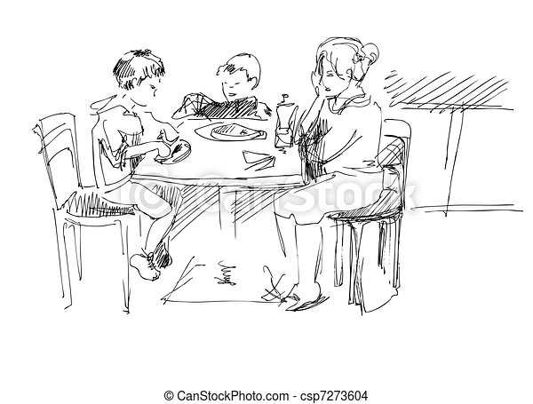 mother with children in a cafe at the table - csp7273604
