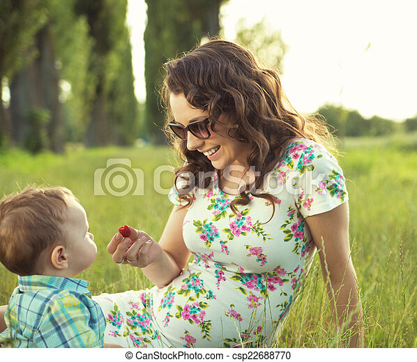 Mother with her child in the park - csp22688770