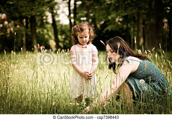 Mother with her child outdoors - csp7398443