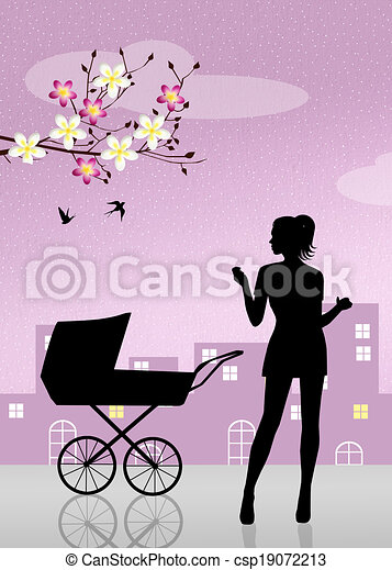 mother with pram - csp19072213