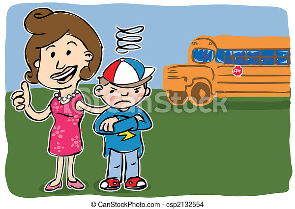Mother with son going back to school - csp2132554