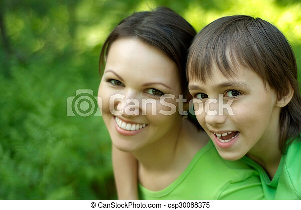 Mother with son in park - csp30088375
