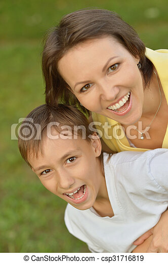 mother with son in park - csp31716819