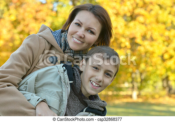 mother with son in park - csp32868377