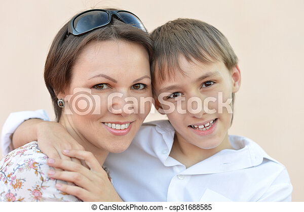mother with son in park - csp31688585