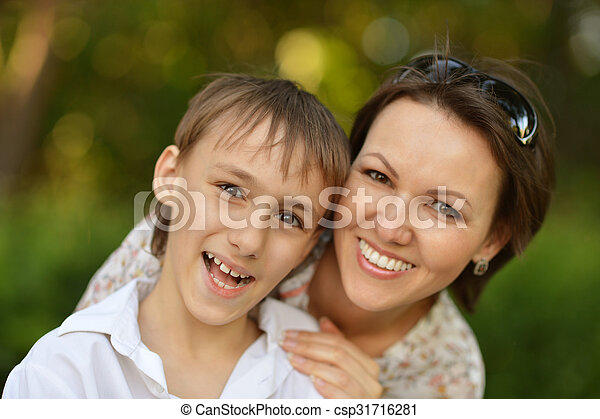 mother with son in park - csp31716281