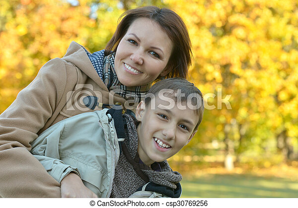 mother with son in park - csp30769256