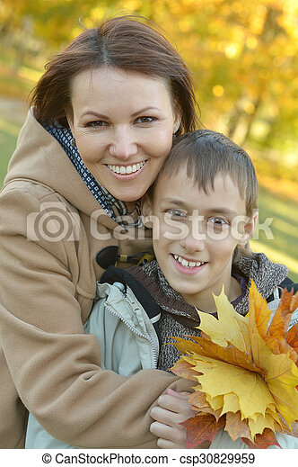 mother with son in park - csp30829959