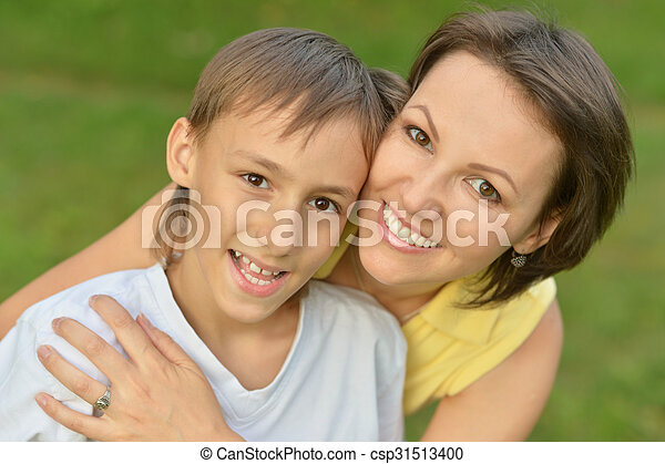 mother with son in park - csp31513400