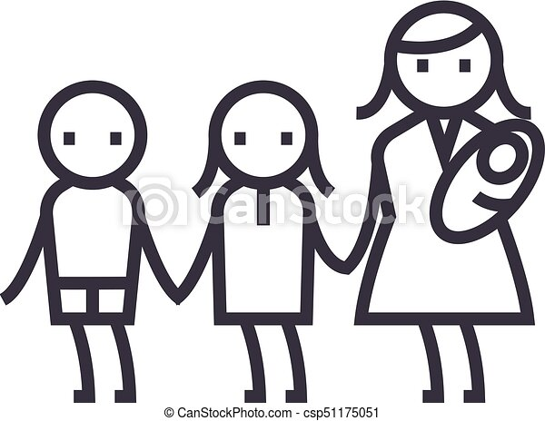 Mother With Three Children Maternity Motherhood Vector Line Icon Sign Illustration On Background Editable Strokes Canstock