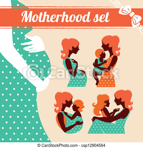 Motherhood set. Silhouettes of mother and baby - csp12904564