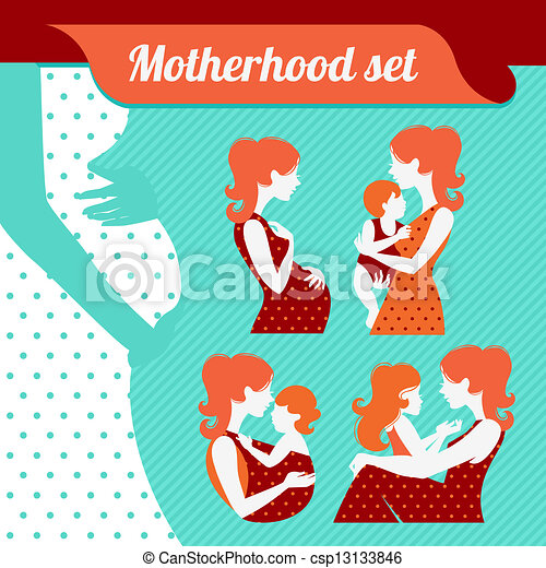Motherhood set. Silhouettes of mother and baby - csp13133846
