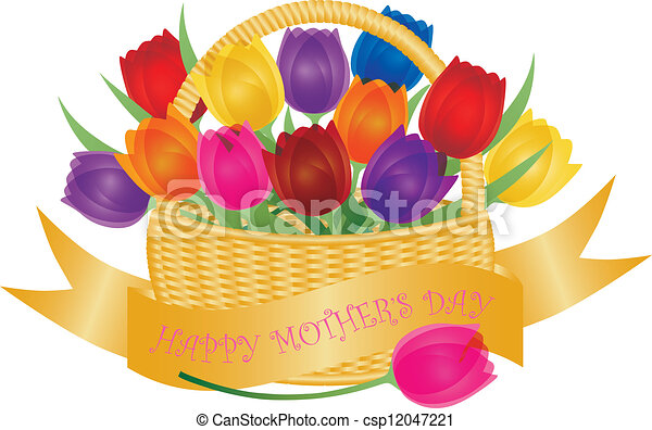 Mothers Day Basket with Colorful Tulips Illustration - csp12047221