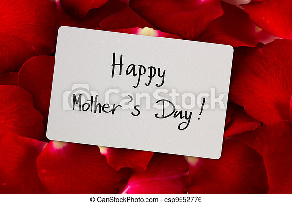 Mother's Day card on a background of red roses - csp9552776