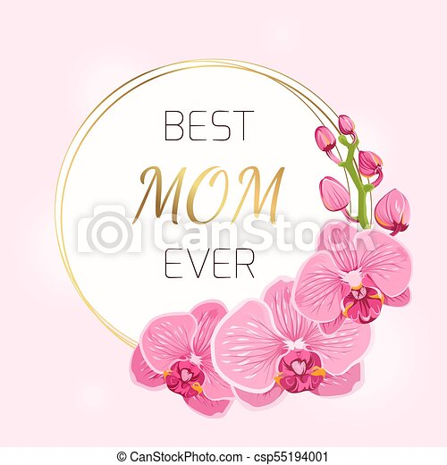 mothers day card pink orchid flowers wreath spring mothers day