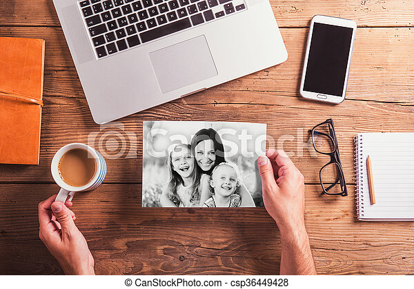 Mothers day composition. Black-and-white photo. Office desk. Woo - csp36449428