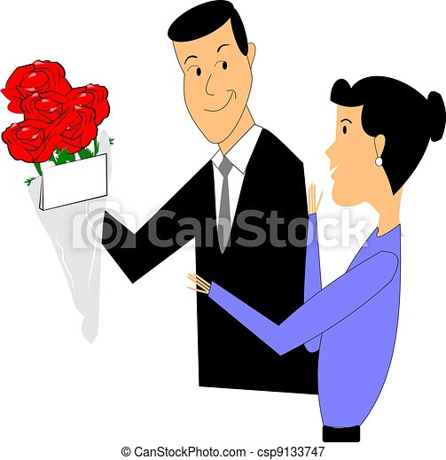 mothers day flowers retro illustration of husband giving roses to