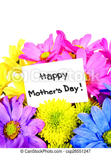 Mother's Day flowers with gift tag - csp26551247