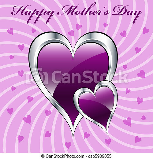Mothers Day Purple Hearts Symbolizing Love Set On A Lilac Swirly