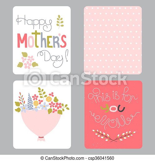 Mothers day set of cards vector set of small card templates hand mothers day set of cards csp36041560 m4hsunfo