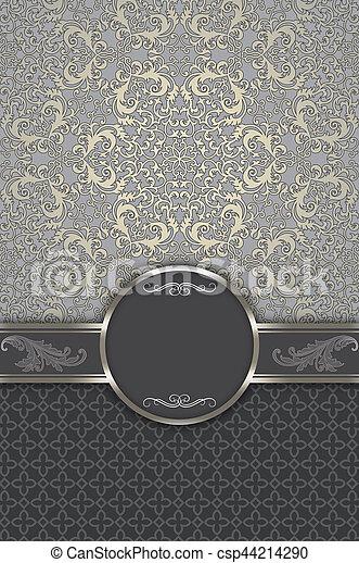 motieven, decoratief, achtergrond, frame., ouderwetse , elegant - csp44214290