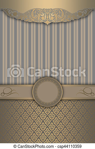 motieven, goud, decoratief, achtergrond, frame., elegant - csp44110359