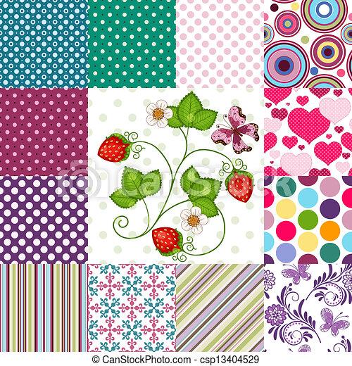 motieven, kleurrijke, verzameling, seamless - csp13404529
