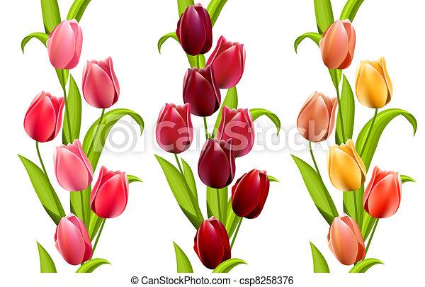 motieven, seamless, verticaal, tulpen - csp8258376