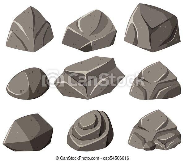 motifs, différent, gris, rochers - csp54506616